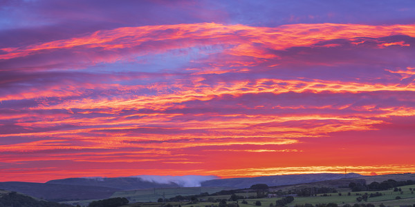Red Sky over Kinder Scout. Acrylic by John Finney