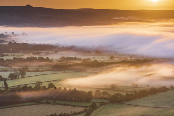 Hope Valley and Win Hill, September Sunrise Acrylic by John Finney