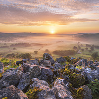 Buy canvas prints of Gritstone sunrise, Peak District by John Finney