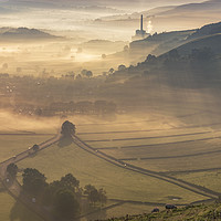 Buy canvas prints of Castleton Village on a stunning morning, Derbyshir by John Finney