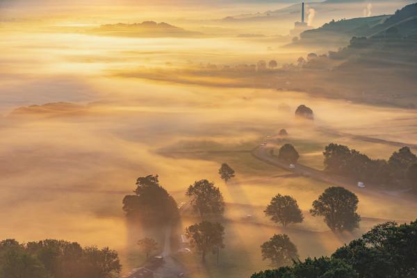 Golden Valley mist at sunrise, Peak District Acrylic by John Finney