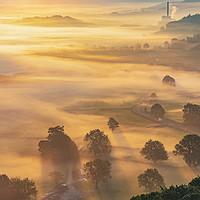 Buy canvas prints of Golden Valley mist at sunrise, Peak District by John Finney