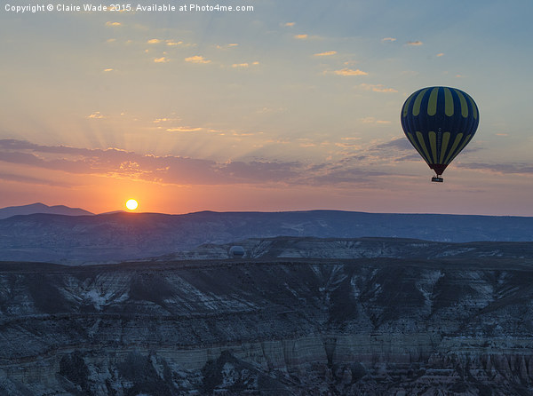 Hot Air Balloon at Sunrise Print by Claire Wade