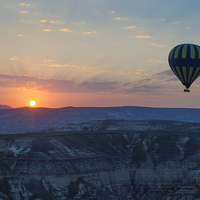 Buy canvas prints of  Hot Air Balloon at Sunrise by Claire Wade