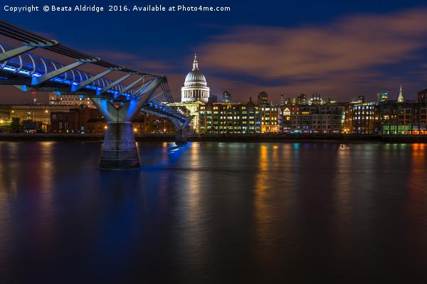Blue hour in London Canvas print by Beata Aldridge