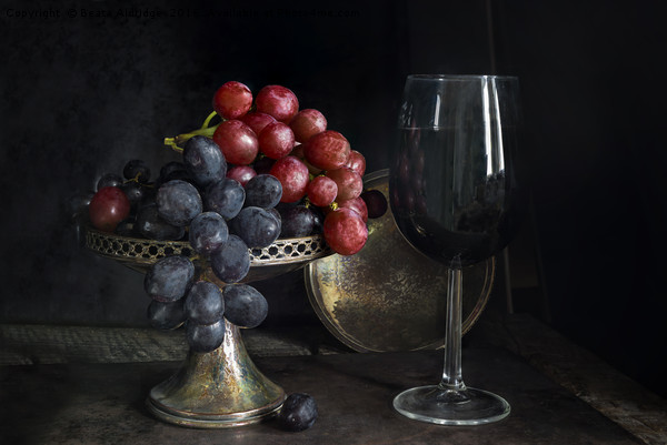 Vintage grapes and red wine Canvas print by Beata Aldridge