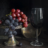 Buy canvas prints of Vintage grapes and red wine by Beata Aldridge