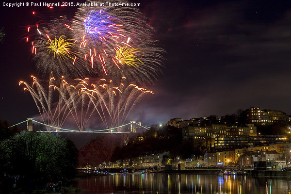 Clifton Suspension Bridge Fireworks Canvas print by Paul Hennell