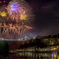 Buy canvas prints of Clifton Suspension Bridge Fireworks by Paul Hennell