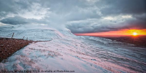 Ingleborough Sunset Canvas print by John Ealing
