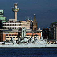 Buy canvas prints of  HMS Liverpools Final Visit To Liverpool  by David Chennell