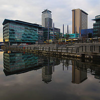 Buy canvas prints of Salford Quays Reflection   by David Chennell