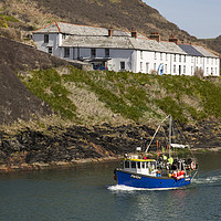 Buy canvas prints of Boscastle Fishing Boat by David Chennell