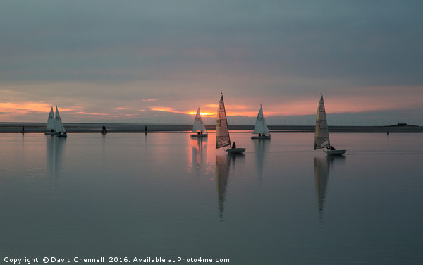 Sunset Sailing Canvas print by David Chennell
