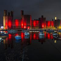 Buy canvas prints of Caernarfon Castle Reflection  by David Chennell