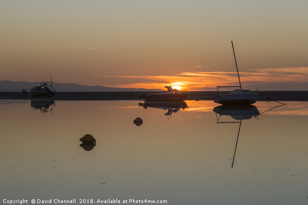 Meols Sunset Reflection Canvas Print by David Chennell