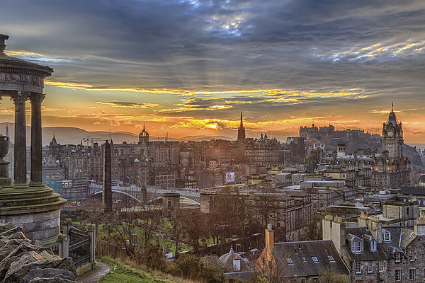 Edinburgh Skyline from Calton Hill Framed Print by Miles Gray