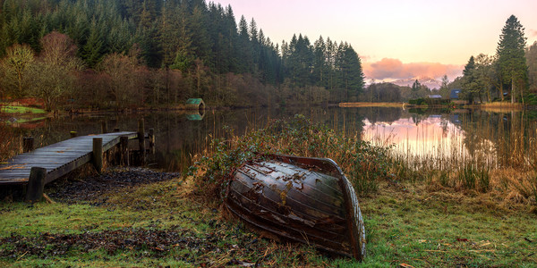 Sunrise over Loch Ard Canvas print by Miles Gray