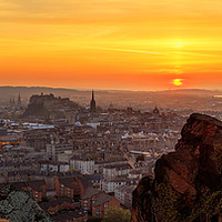 Buy canvas prints of Edinburgh Skyline at Sunset by Miles Gray