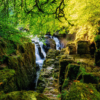 Buy canvas prints of Sunshine over the Black Linn waterfall by Miles Gray