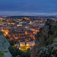 Buy canvas prints of The Edinburgh Skyline at Dusk by Miles Gray