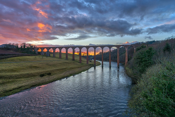 Sunset over the River Tweed Canvas Print by Miles Gray