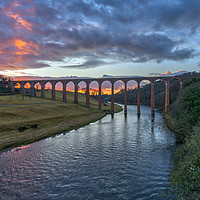 Buy canvas prints of Sunset over the River Tweed by Miles Gray