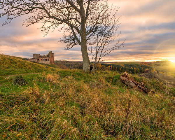 Crichton Castle at Sunset Canvas Print by Miles Gray