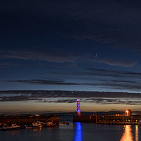 Buy canvas prints of Comet NEOWISE taken from Newhaven Harbour by Miles Gray