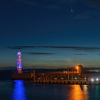 Buy canvas prints of Comet NEOWISE from Newhaven Harbour Edinburgh by Miles Gray