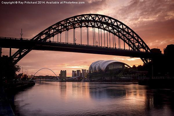 Sunrise Over Tyne Bridge Framed Mounted Print by Ray Pritchard