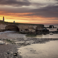 Buy canvas prints of Souter Lighthouse at Sunset by Ray Pritchard