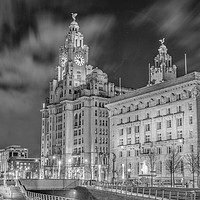 Buy canvas prints of Liver Building Night Time Long Exposure by James Harrison