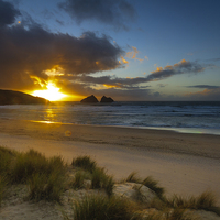 Buy canvas prints of Holywell bay cornwall  by chris smith