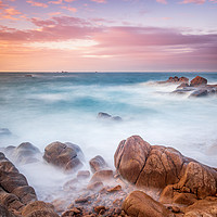 Buy canvas prints of Sunset at cobo bay Guernsey  by chris smith