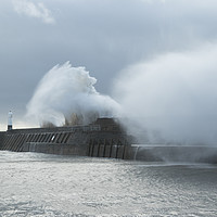 Buy canvas prints of Porthcawl hit by a huge waves by Andrew Bartlett