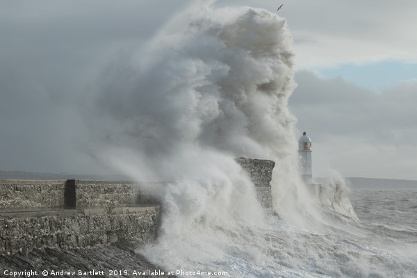 Porthcawl hit by massive waves. Framed Print by Andrew Bartlett