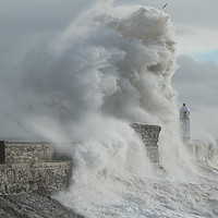 Buy canvas prints of Porthcawl hit by massive waves. by Andrew Bartlett