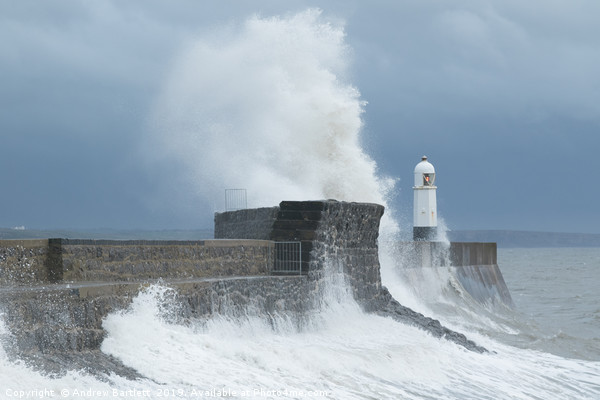 Huge waves at Porthcawl, South Wales, UK. Canvas Print by Andrew Bartlett