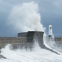 Buy canvas prints of Huge waves at Porthcawl, South Wales, UK. by Andrew Bartlett