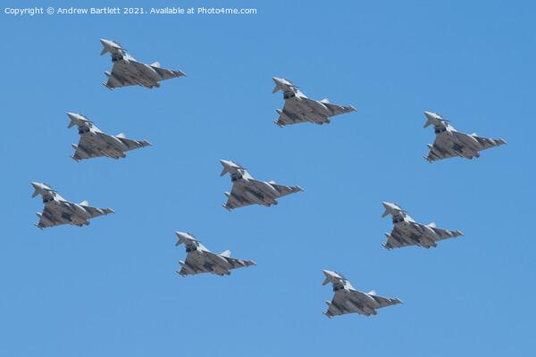 Eurofighter RAF 100 9 Typhoon Eurofighter Flypast. Framed Print by Andrew Bartlett