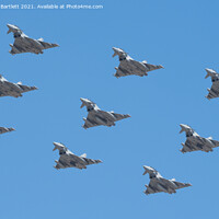 Buy canvas prints of Eurofighter RAF 100 9 Typhoon Eurofighter Flypast. by Andrew Bartlett