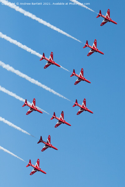 RAF Red Arrows Print by Andrew Bartlett