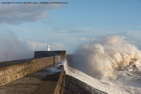 Porthcawl waves 11 March '20 Print by Andrew Bartlett
