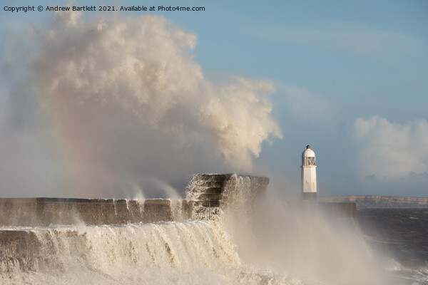 Porthcawl waves smash against the Lighthouse Print by Andrew Bartlett