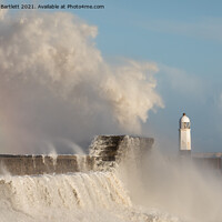 Buy canvas prints of Porthcawl waves smash against the Lighthouse by Andrew Bartlett