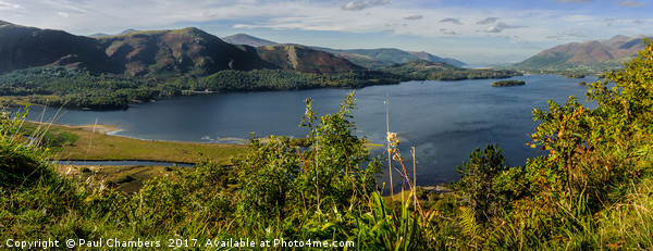 Derwent Water Panorama  Canvas Print by Paul Chambers