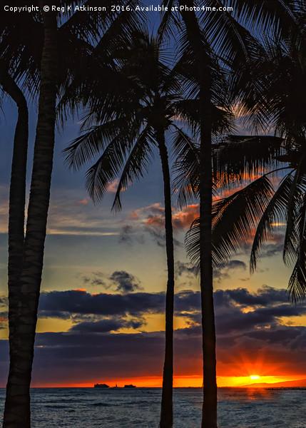 Waikiki Sunset Framed Print by Reg K Atkinson