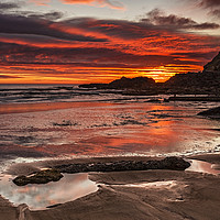 Buy canvas prints of Sunrise Over Featherbed Rock by Reg K Atkinson