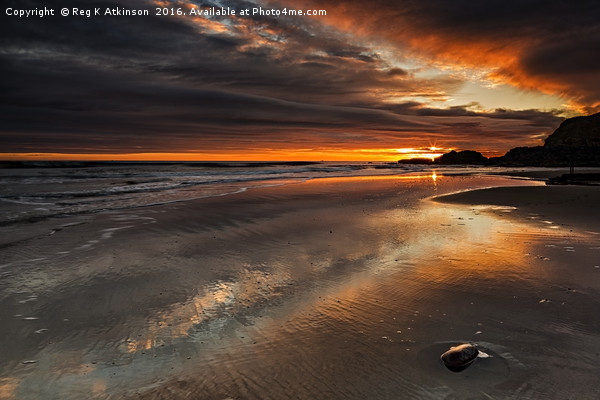 Featherbed Rock Sunrise Framed Mounted Print by Reg K Atkinson